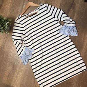 BeachLunchLounge Striped Bell Sleeve Dress
